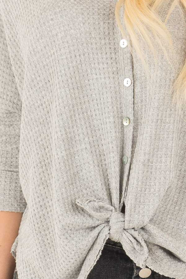 Heather Grey Waffle Knit Button Up Top with Front Tie Detail detail