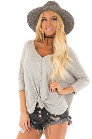 Heather Grey Waffle Knit Button Up Top with Front Tie Detail front close up