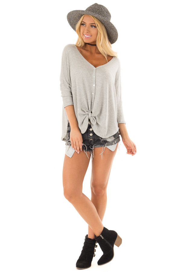 Heather Grey Waffle Knit Button Up Top with Front Tie Detail front full body
