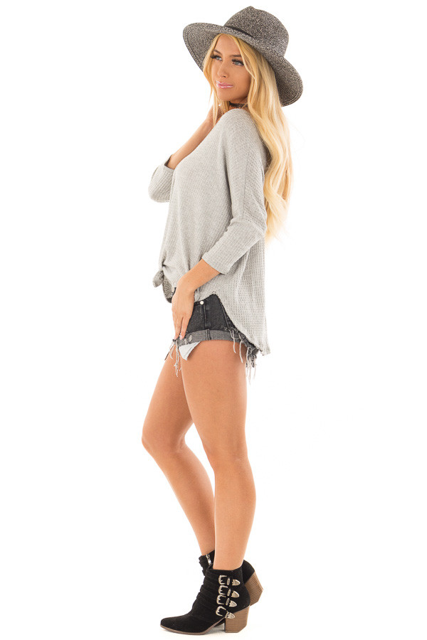 Heather Grey Waffle Knit Button Up Top with Front Tie Detail side full body