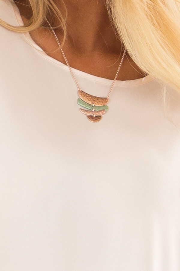 Rose Gold and Turquoise Tiered Pendant Necklace close up