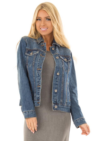 Dark Wash Denim Button Up Jacket with Pockets front close up