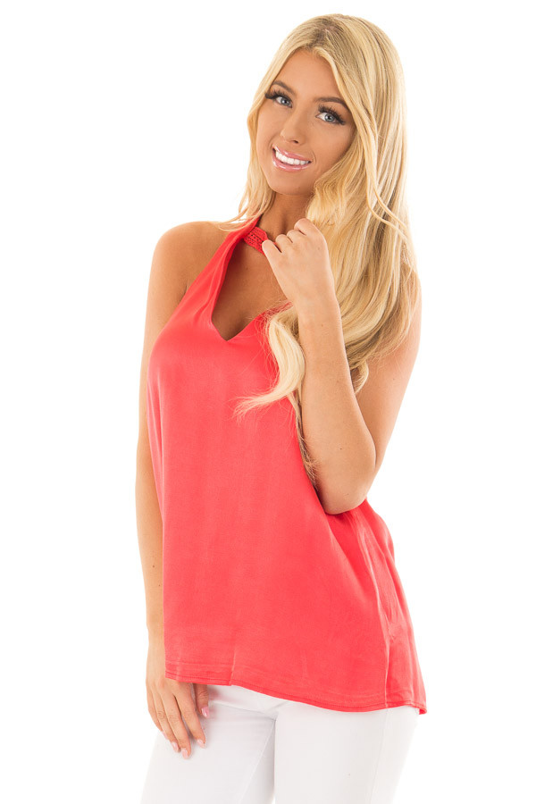 Cherry Red Silk Halter Top with Chest Cutout front close up
