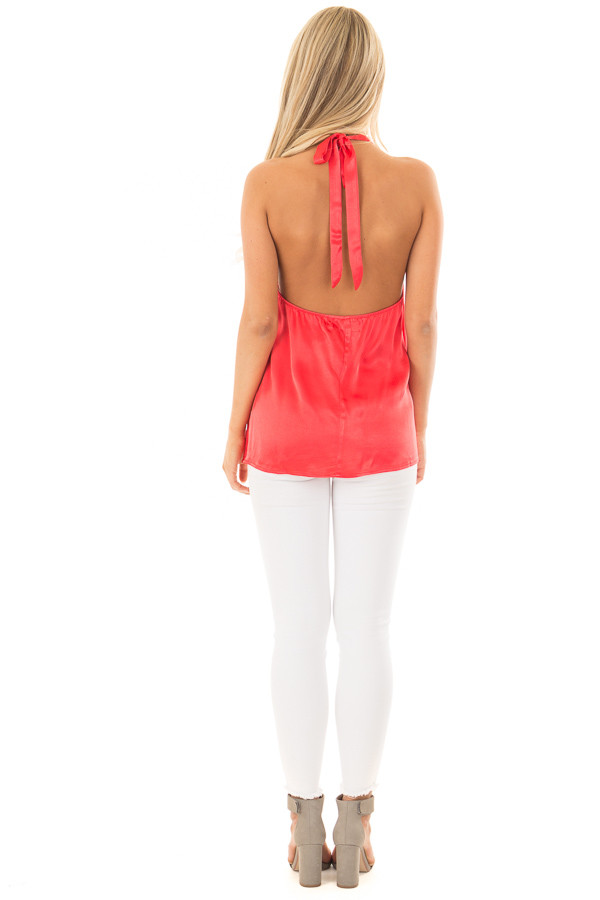 Cherry Red Silk Halter Top with Chest Cutout back full body