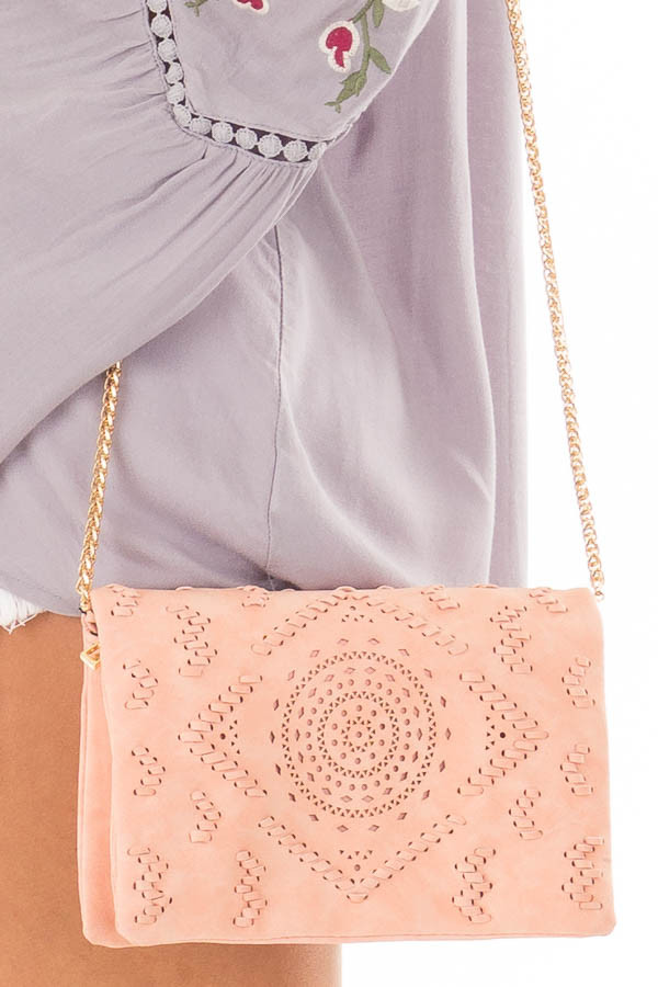 Blush Clutch with Perforated and Braided Boho Details detail