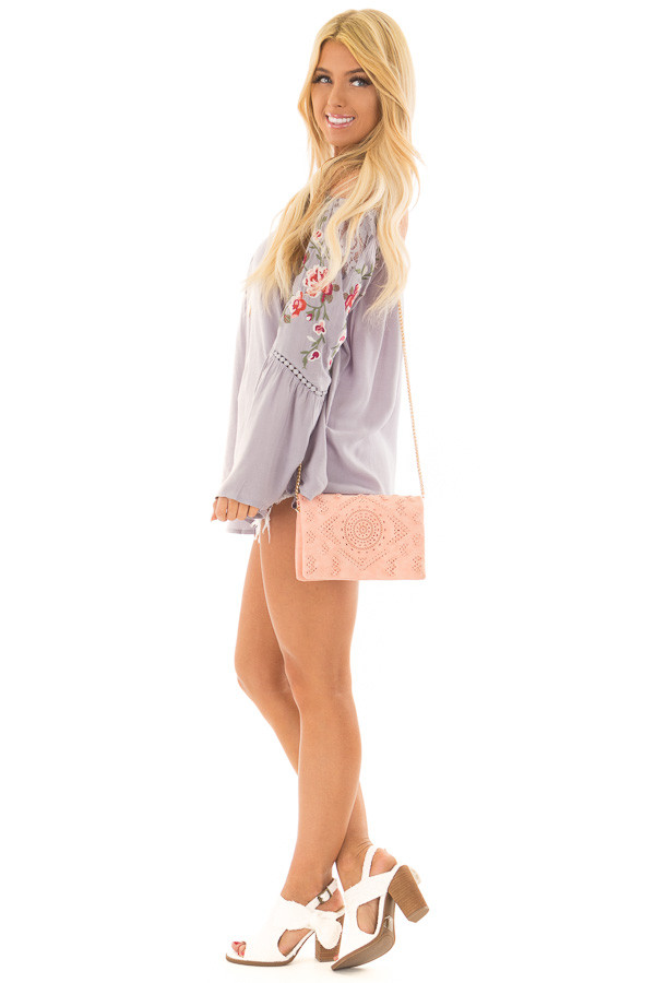 Blush Clutch with Perforated and Braided Boho Details side full body