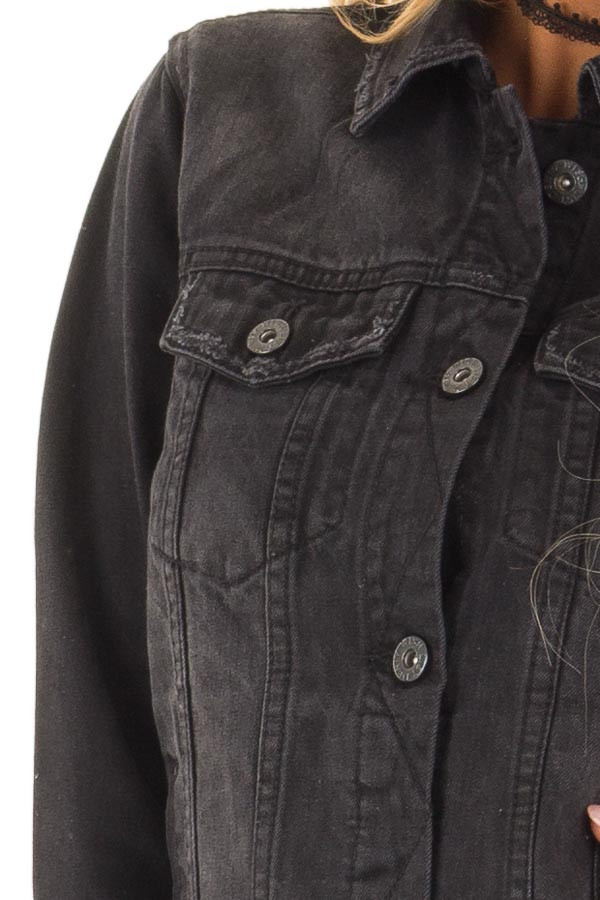 Black Denim Button Up Jacket with Pockets detail