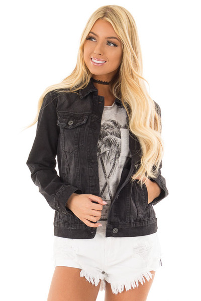 Black Denim Button Up Jacket with Pockets front close up