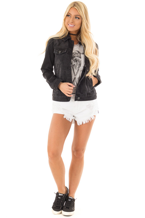 Black Denim Button Up Jacket with Pockets front full body