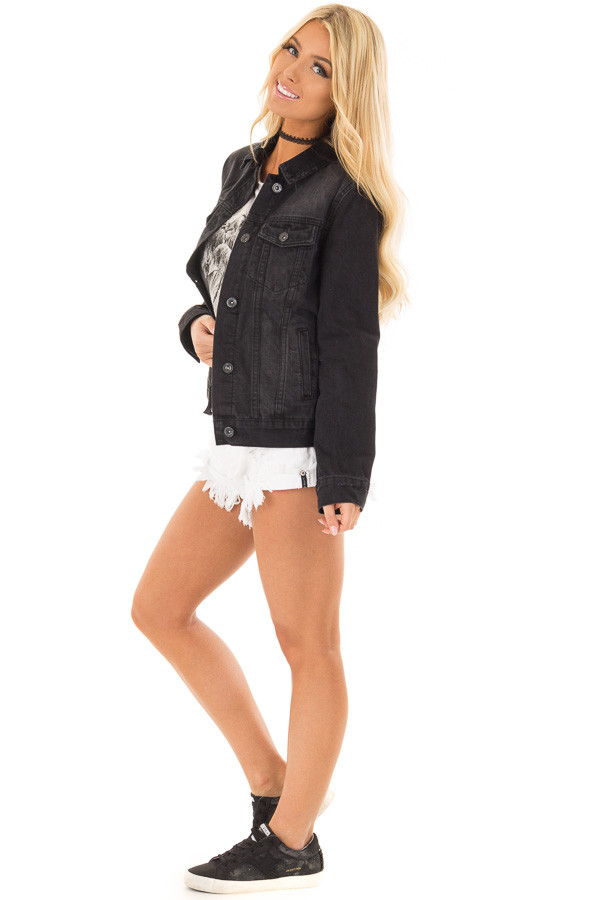 Black Denim Button Up Jacket with Pockets side full body