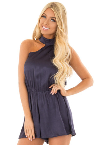 Navy One Shoulder Romper front close up