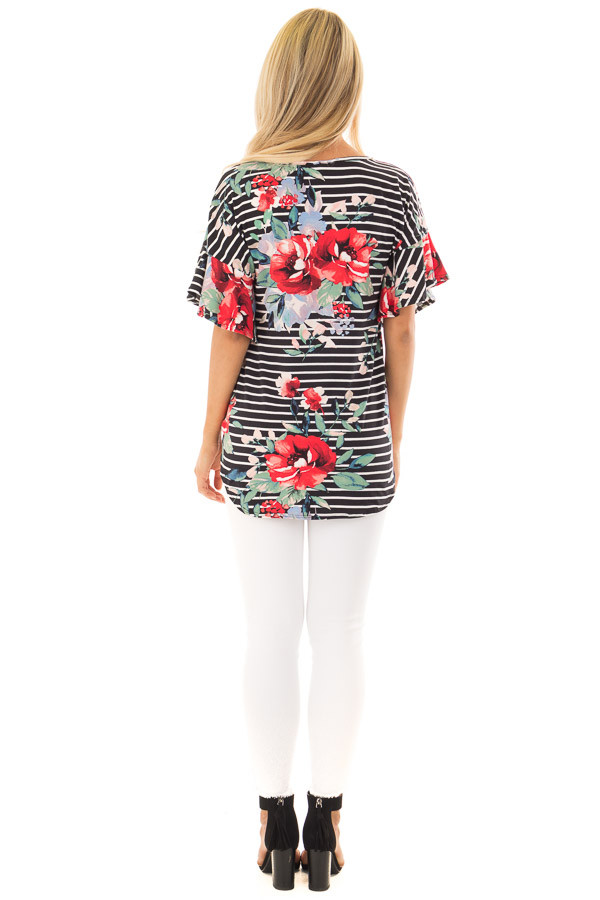 Black Stripe and Floral Print Super Soft Top with Tie Detail back full body