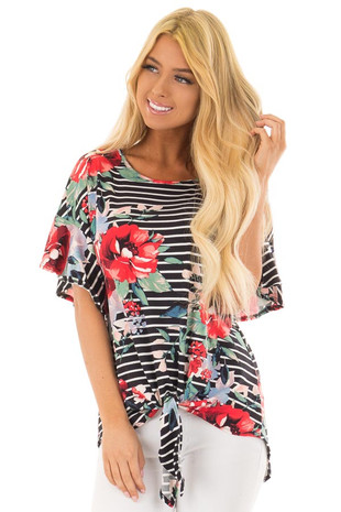 Black Stripe and Floral Print Super Soft Top with Tie Detail front close up