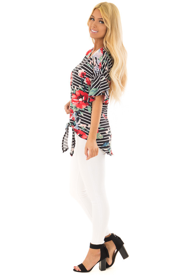 Black Stripe and Floral Print Super Soft Top with Tie Detail side full body