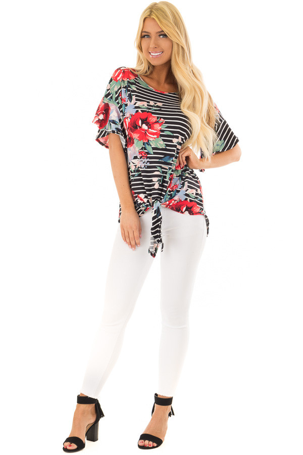 Black Stripe and Floral Print Super Soft Top with Tie Detail front full body
