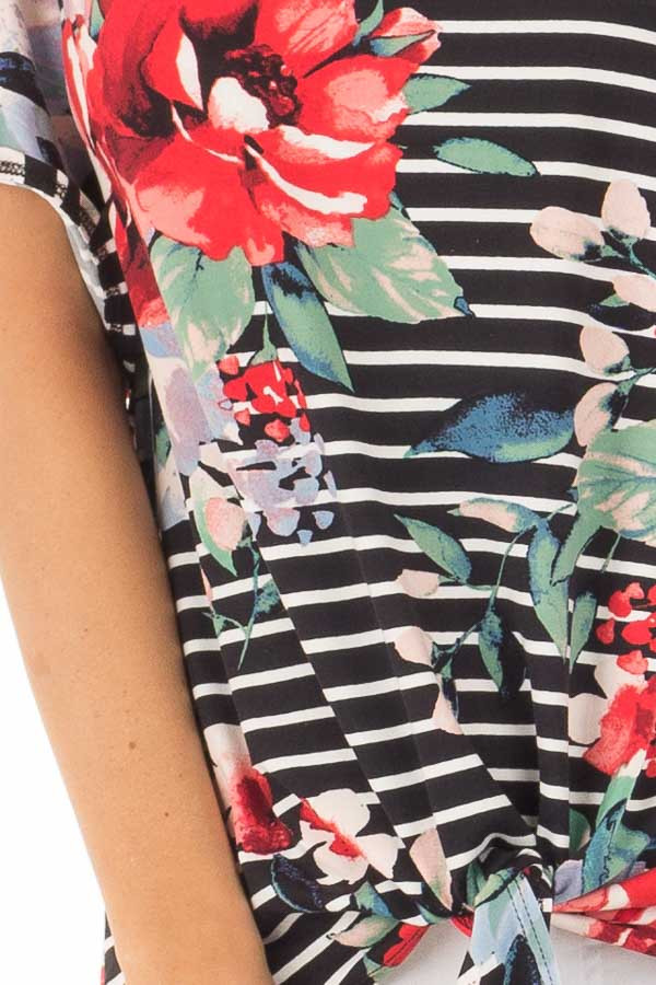 Black Stripe and Floral Print Super Soft Top with Tie Detail detail