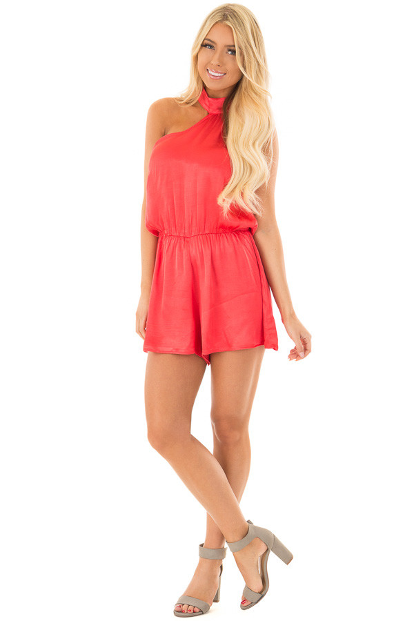 Cherry Red One Shoulder Romper front full body