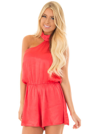 Cherry Red One Shoulder Romper front close up