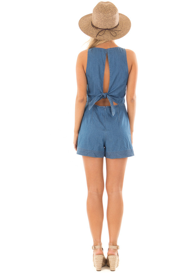 Denim Romper with Back Tie Detail and Hidden Pockets back full body