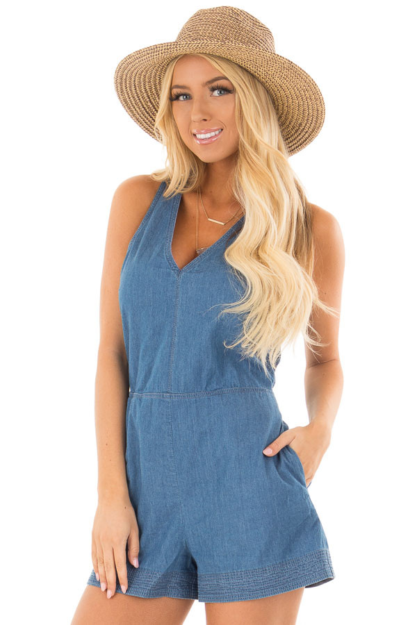 Denim Romper with Back Tie Detail and Hidden Pockets front close up