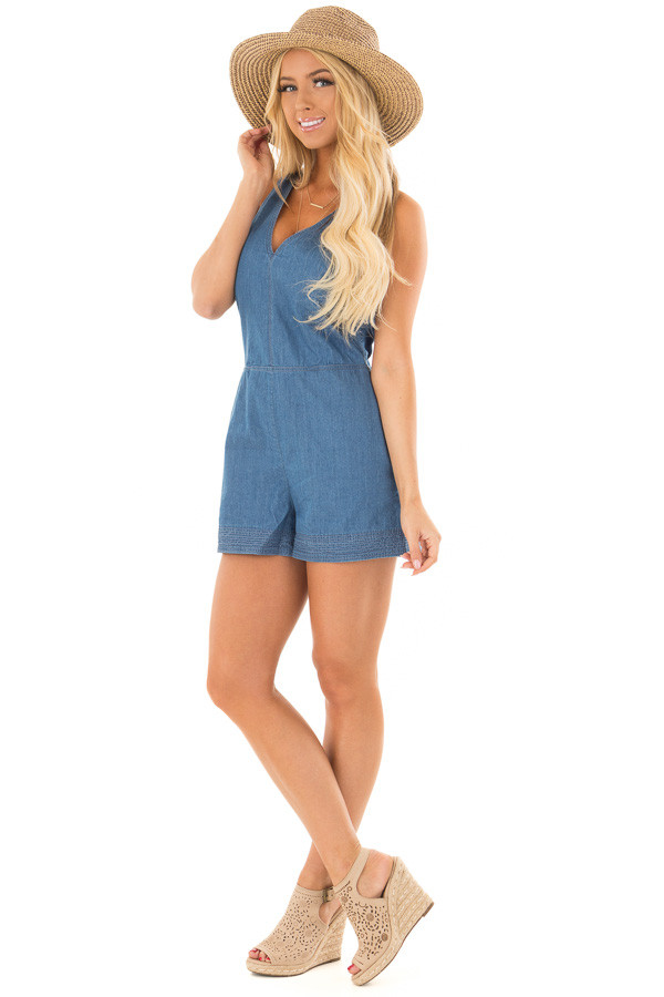Denim Romper with Back Tie Detail and Hidden Pockets front full body