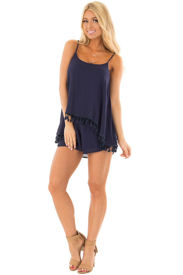 Navy Romper with Open Back and Tassel Trimmed Overlay front full body
