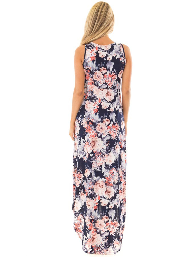 Navy Floral Sleeveless High Low Dress with Pockets back full body