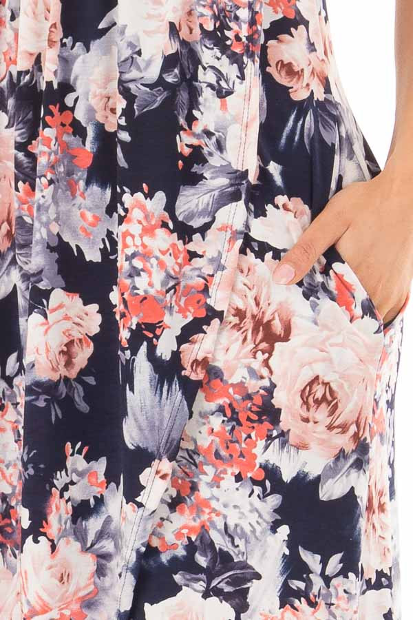 Navy Floral Sleeveless High Low Dress with Pockets detail