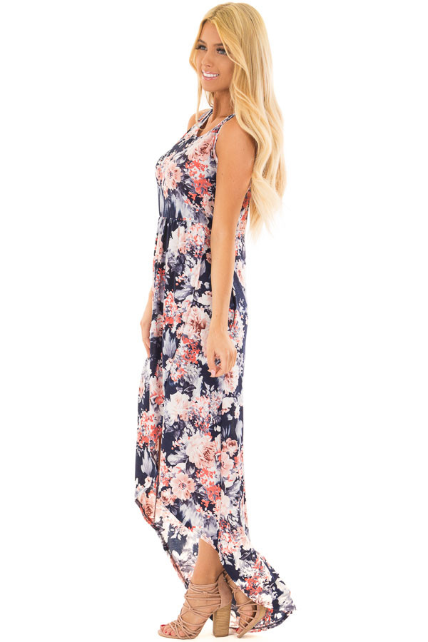 Navy Floral Sleeveless High Low Dress with Pockets side full body