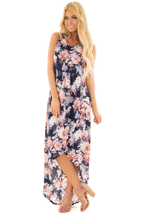 Navy Floral Sleeveless High Low Dress with Pockets front full body