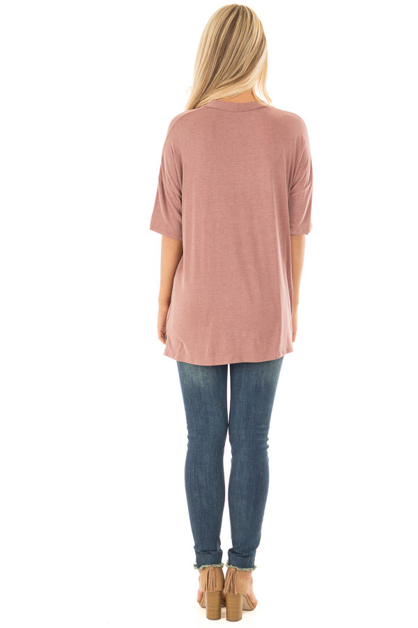 Light Marsala Tee with Cut Out Neckline and Distressed Details back full body