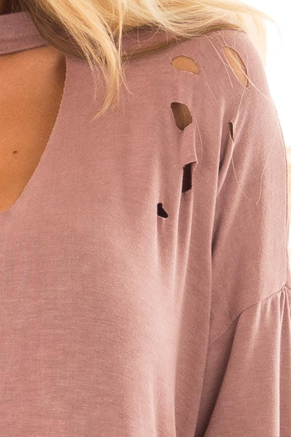 Light Marsala Tee with Cut Out Neckline and Distressed Details detail