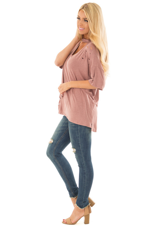 Light Marsala Tee with Cut Out Neckline and Distressed Details side full body