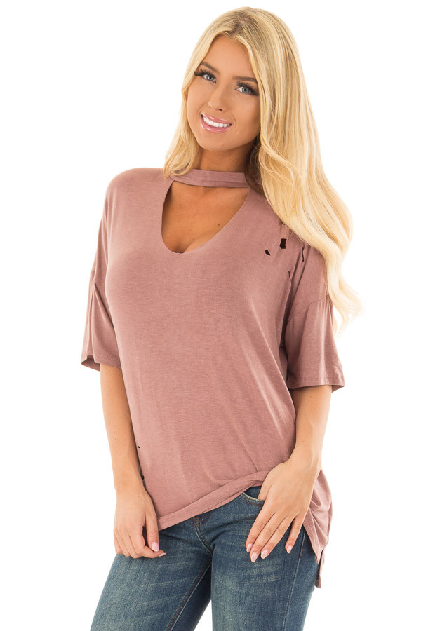 Light Marsala Tee with Cut Out Neckline and Distressed Details front close up