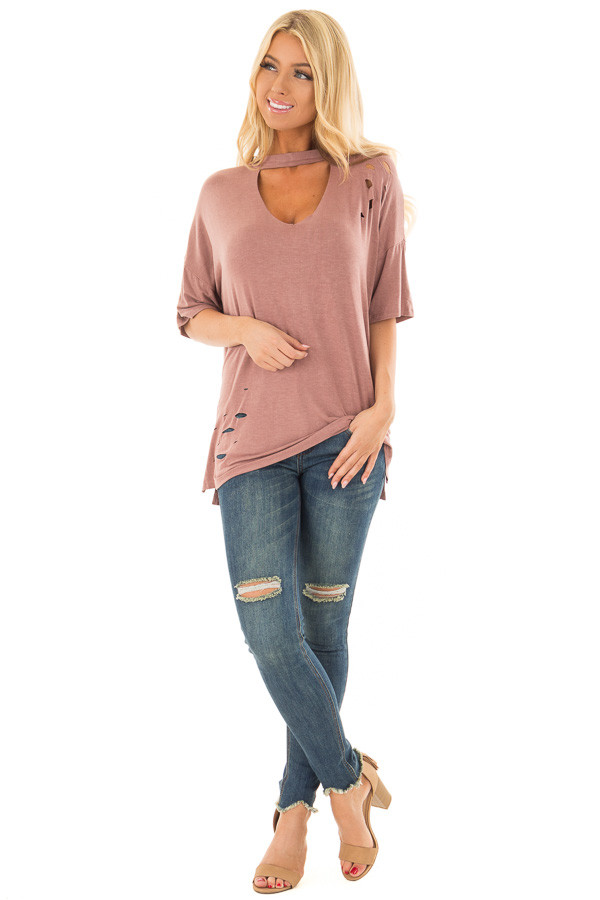 Light Marsala Tee with Cut Out Neckline and Distressed Details front full body