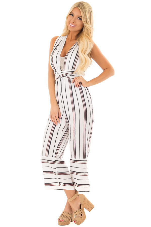 Ivory Striped Wrap Style Jumpsuit front close up