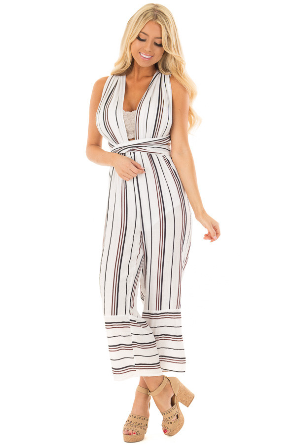 Ivory Striped Wrap Style Jumpsuit front full body