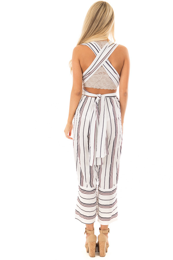 Ivory Striped Wrap Style Jumpsuit back full body