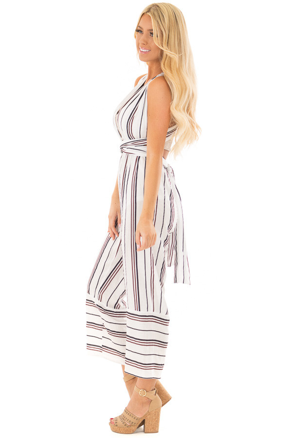 Ivory Striped Wrap Style Jumpsuit side full body