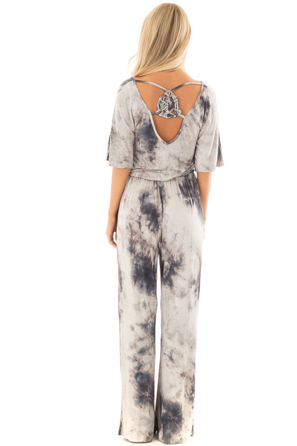 Ash Grey Tie Dye Dolman Sleeve Jumpsuit with Hidden Pockets back full body