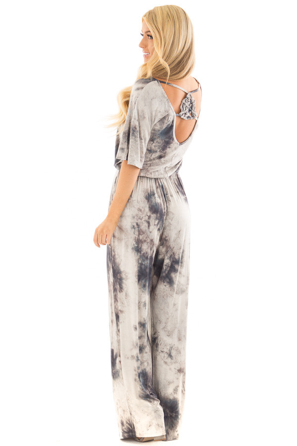 Ash Grey Tie Dye Dolman Sleeve Jumpsuit with Hidden Pockets back side full body