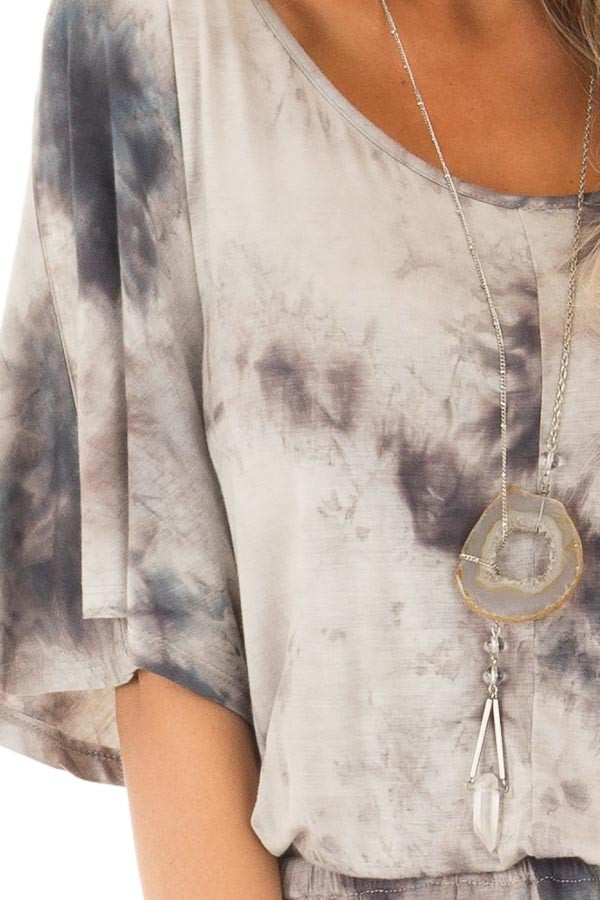 Ash Grey Tie Dye Dolman Sleeve Jumpsuit with Hidden Pockets detail