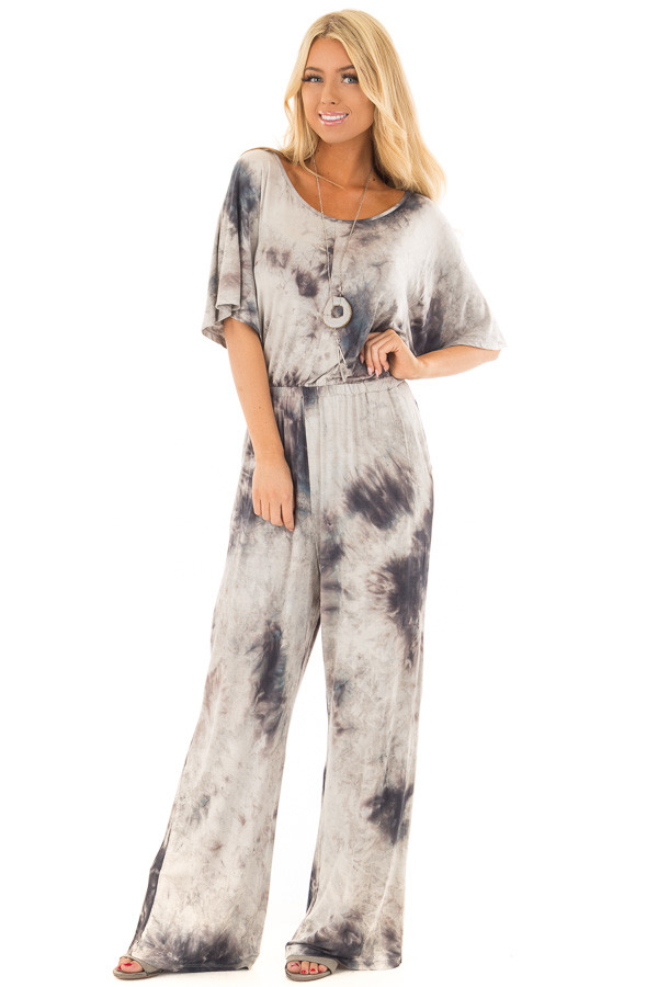 Ash Grey Tie Dye Dolman Sleeve Jumpsuit with Hidden Pockets front full body