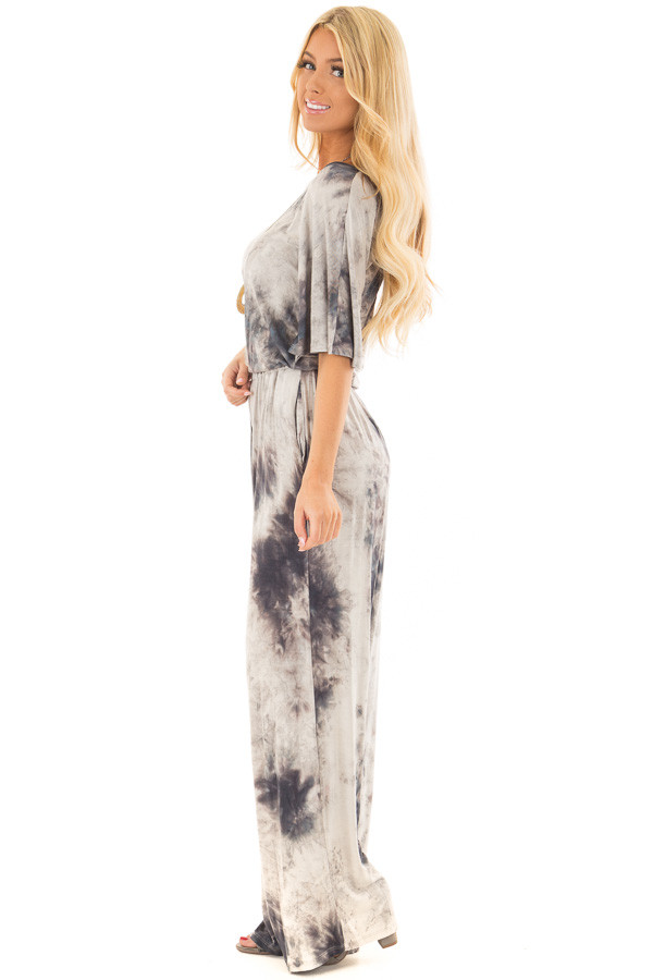 Ash Grey Tie Dye Dolman Sleeve Jumpsuit with Hidden Pockets side full body
