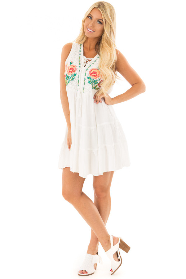 White Dress with Floral Embroidery and Tiered Skirt front full body