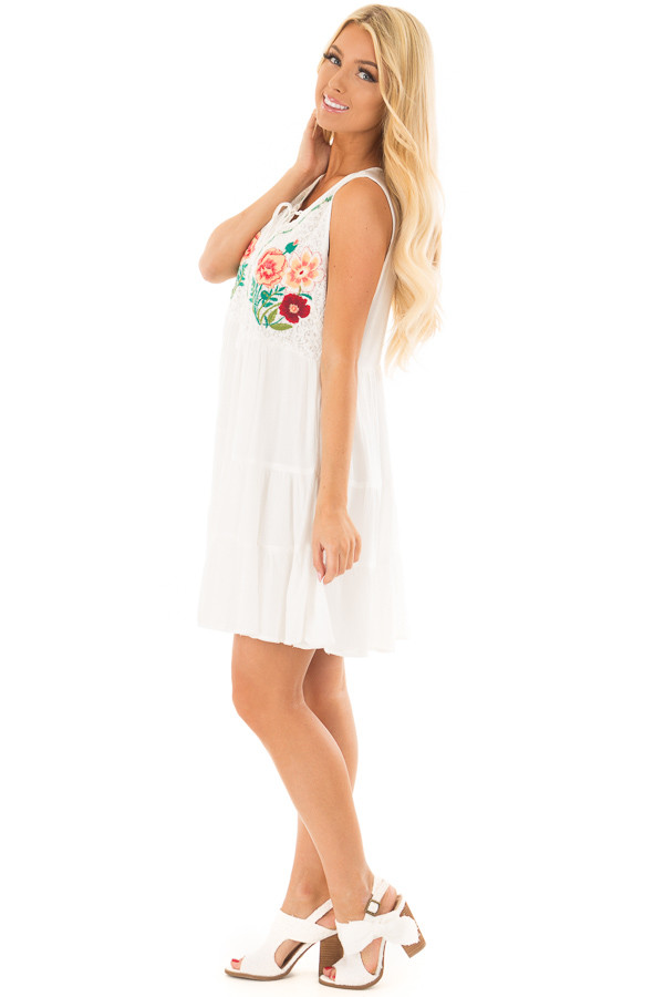 White Dress with Floral Embroidery and Tiered Skirt side full body