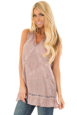 Dusty Mauve Tunic with Sheer Lace Contrast front close up