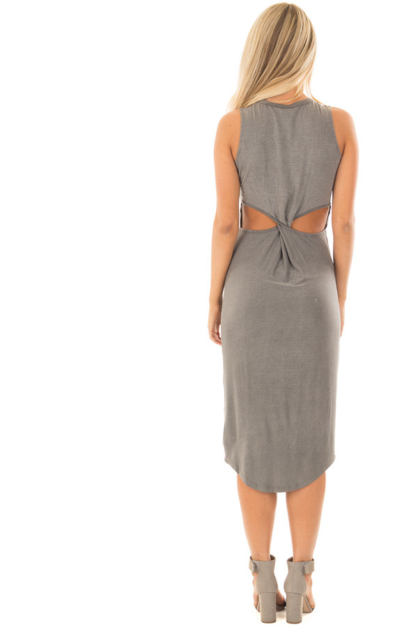 Charcoal Midi Dress with Knotted Open Back back full body