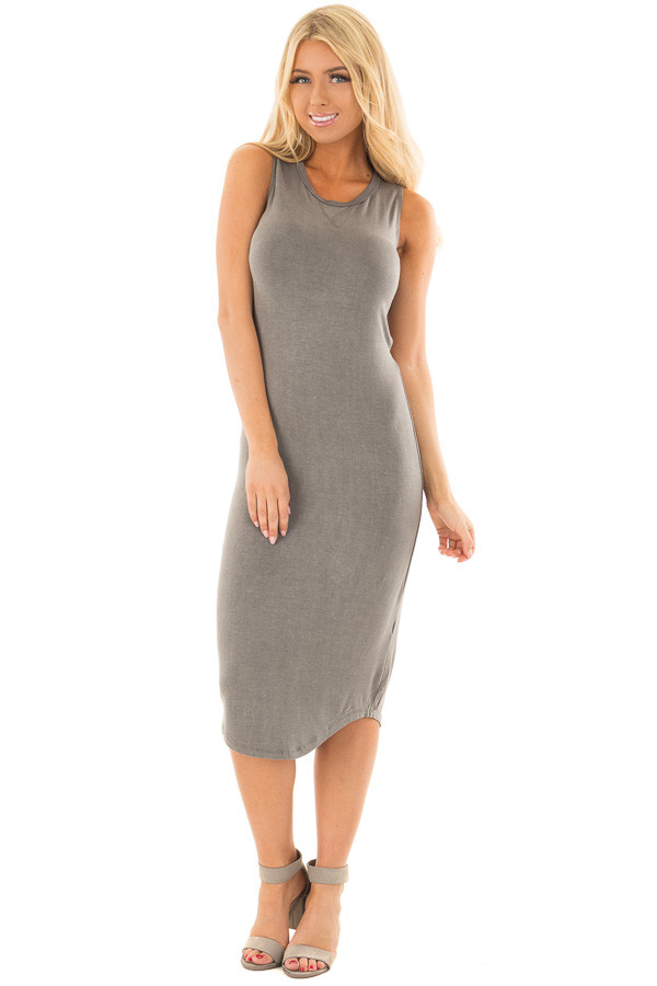 Charcoal Midi Dress with Knotted Open Back front full body