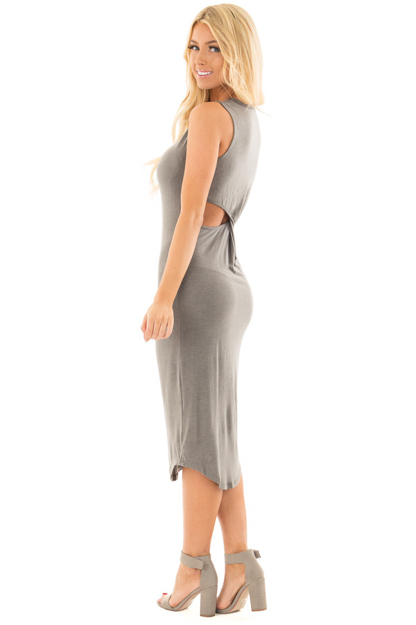 Charcoal Midi Dress with Knotted Open Back side full body